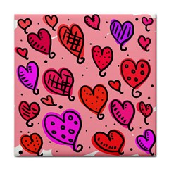 Valentine Wallpaper Whimsical Cartoon Pink Love Heart Wallpaper Design Tile Coasters