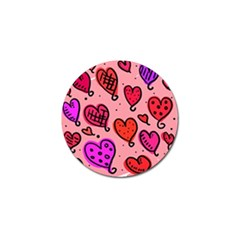 Valentine Wallpaper Whimsical Cartoon Pink Love Heart Wallpaper Design Golf Ball Marker by Nexatart