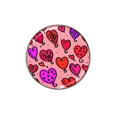 Valentine Wallpaper Whimsical Cartoon Pink Love Heart Wallpaper Design Hat Clip Ball Marker (10 Pack) by Nexatart