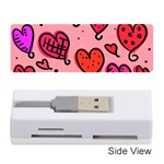 Valentine Wallpaper Whimsical Cartoon Pink Love Heart Wallpaper Design Memory Card Reader (Stick)  Front