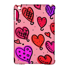 Valentine Wallpaper Whimsical Cartoon Pink Love Heart Wallpaper Design Apple Ipad Mini Hardshell Case (compatible With Smart Cover) by Nexatart