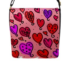 Valentine Wallpaper Whimsical Cartoon Pink Love Heart Wallpaper Design Flap Messenger Bag (l)  by Nexatart