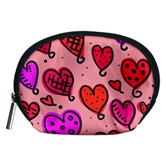 Valentine Wallpaper Whimsical Cartoon Pink Love Heart Wallpaper Design Accessory Pouches (medium)
