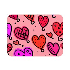 Valentine Wallpaper Whimsical Cartoon Pink Love Heart Wallpaper Design Double Sided Flano Blanket (mini)  by Nexatart