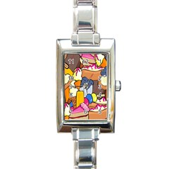 Sweet Stuff Digitally Food Rectangle Italian Charm Watch by Nexatart