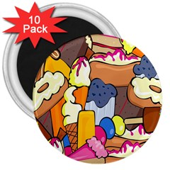 Sweet Stuff Digitally Food 3  Magnets (10 Pack)  by Nexatart
