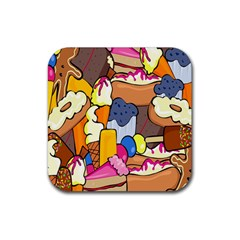 Sweet Stuff Digitally Food Rubber Square Coaster (4 Pack)  by Nexatart