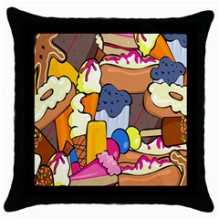 Sweet Stuff Digitally Food Throw Pillow Case (black) by Nexatart