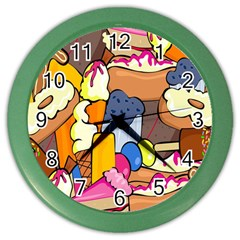 Sweet Stuff Digitally Food Color Wall Clocks by Nexatart