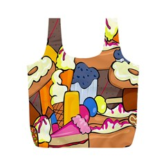 Sweet Stuff Digitally Food Full Print Recycle Bags (m)  by Nexatart