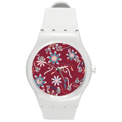 Floral Seamless Pattern Vector Round Plastic Sport Watch (m) by Nexatart