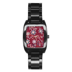 Floral Seamless Pattern Vector Stainless Steel Barrel Watch