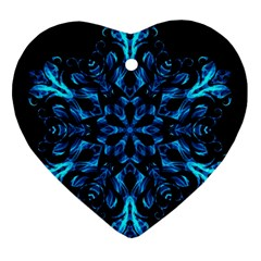 Blue Snowflake Ornament (heart) by Nexatart