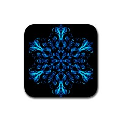 Blue Snowflake Rubber Coaster (square)  by Nexatart