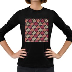Floral Seamless Pattern Vector Women s Long Sleeve Dark T Shirts