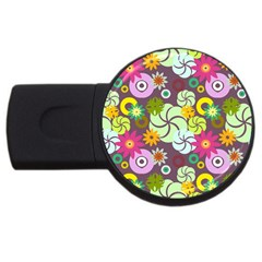 Floral Seamless Pattern Vector Usb Flash Drive Round (4 Gb) by Nexatart