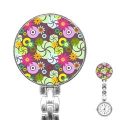 Floral Seamless Pattern Vector Stainless Steel Nurses Watch by Nexatart