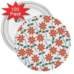 Floral Seamless Pattern Vector 3  Buttons (100 Pack)  by Nexatart