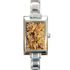 Abstract Brachiate Structure Yellow And Black Dendritic Pattern Rectangle Italian Charm Watch by Nexatart