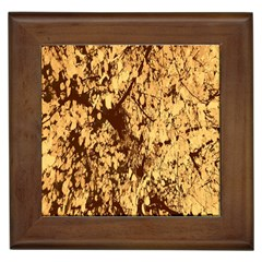Abstract Brachiate Structure Yellow And Black Dendritic Pattern Framed Tiles by Nexatart