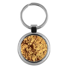 Abstract Brachiate Structure Yellow And Black Dendritic Pattern Key Chains (round)