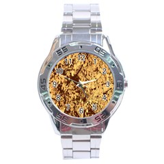 Abstract Brachiate Structure Yellow And Black Dendritic Pattern Stainless Steel Analogue Watch by Nexatart