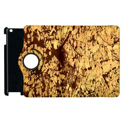 Abstract Brachiate Structure Yellow And Black Dendritic Pattern Apple Ipad 3/4 Flip 360 Case by Nexatart