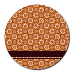 Floral Seamless Pattern Vector Round Mousepads by Nexatart