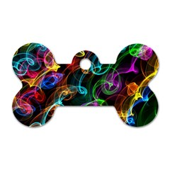 Rainbow Ribbon Swirls Digitally Created Colourful Dog Tag Bone (two Sides) by Nexatart