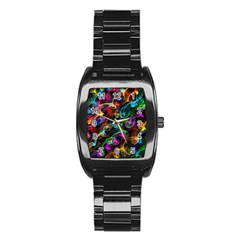 Rainbow Ribbon Swirls Digitally Created Colourful Stainless Steel Barrel Watch