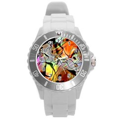 Abstract Pattern Texture Round Plastic Sport Watch (l)