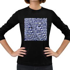 Aliens Music Notes Background Wallpaper Women s Long Sleeve Dark T Shirts by Nexatart