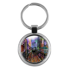 Downtown Chicago City Key Chains (round)  by Nexatart