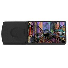 Downtown Chicago City Usb Flash Drive Rectangular (4 Gb) by Nexatart