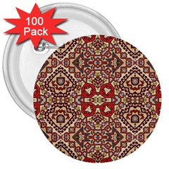 Seamless Pattern Based On Turkish Carpet Pattern 3  Buttons (100 Pack)