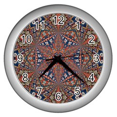 Armenian Carpet In Kaleidoscope Wall Clocks (silver)  by Nexatart