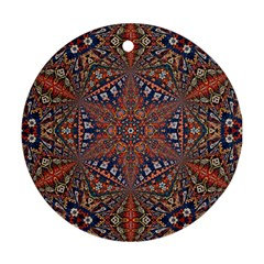 Armenian Carpet In Kaleidoscope Round Ornament (two Sides)