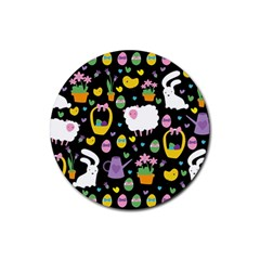 Cute Easter Pattern Rubber Coaster (round)  by Valentinaart