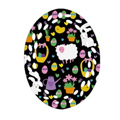 Cute Easter Pattern Ornament (oval Filigree) by Valentinaart