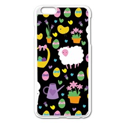 Cute Easter Pattern Apple Iphone 6 Plus/6s Plus Enamel White Case by Valentinaart