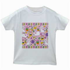 Cute Easter Pattern Kids White T Shirts