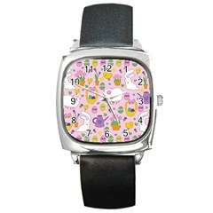 Cute Easter Pattern Square Metal Watch by Valentinaart