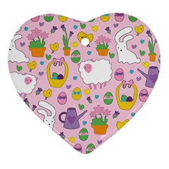 Cute Easter Pattern Heart Ornament (two Sides)