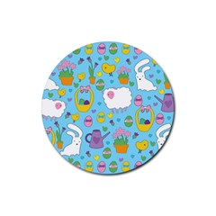 Cute Easter Pattern Rubber Round Coaster (4 Pack)  by Valentinaart