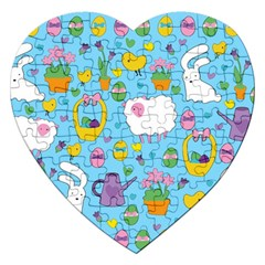 Cute Easter Pattern Jigsaw Puzzle (heart) by Valentinaart