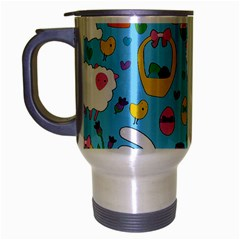 Cute Easter Pattern Travel Mug (silver Gray) by Valentinaart