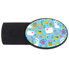 Cute Easter Pattern Usb Flash Drive Oval (4 Gb) by Valentinaart