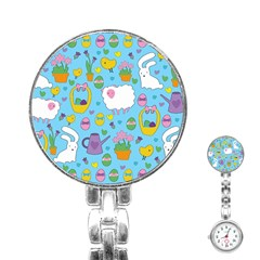 Cute Easter Pattern Stainless Steel Nurses Watch by Valentinaart