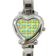 Colorful Happy Easter Theme Pattern Heart Italian Charm Watch by dflcprints