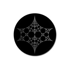 Drawing Of A White Spindle On Black Magnet 3  (round)